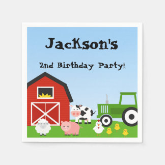 Farm Animals, Cow, Tractor, Sheep, Pigs, Birthday Standard Cocktail Napkin