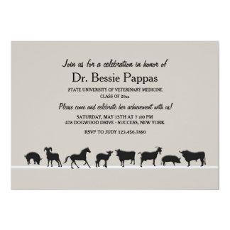 Farm Animals Dr. of Veterinary Medicine Graduation 13 Cm X 18 Cm Invitation Card