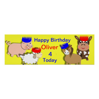 Farm Animals Happy Birthday Personalized Banner Poster