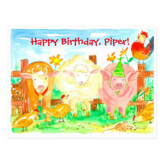 Farm Animals Happy Birthday Postcard