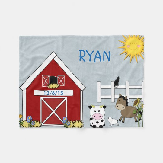 Farm Animals, Horse, Cow, Lamb Fleece Blanket