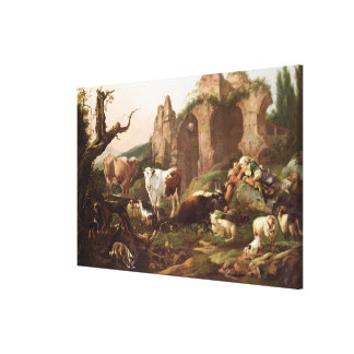 Farm animals in a landscape, 1685 canvas print