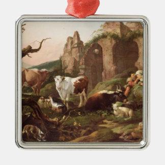 Farm animals in a landscape, 1685 christmas ornament