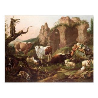 Farm animals in a landscape, 1685 postcard