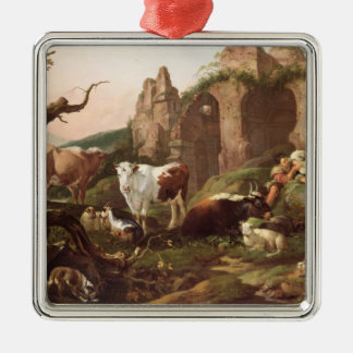 Farm animals in a landscape, 1685 Silver-Colored square decoration