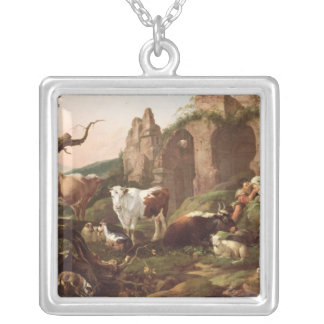 Farm animals in a landscape, 1685 silver plated necklace