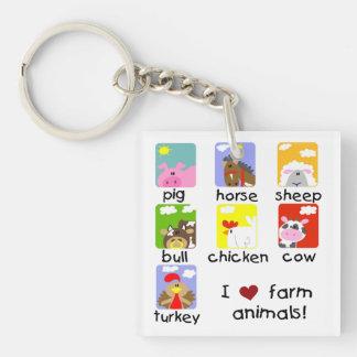Farm Animals Square Acrylic Key Chain