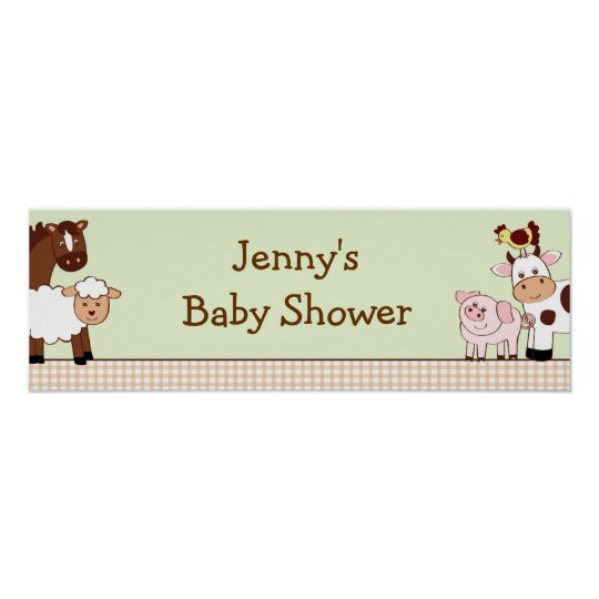 Farm Animals Personalised Baby Shower Banner Poster