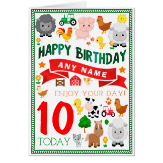 Farm Animals Personalised Birthday Card