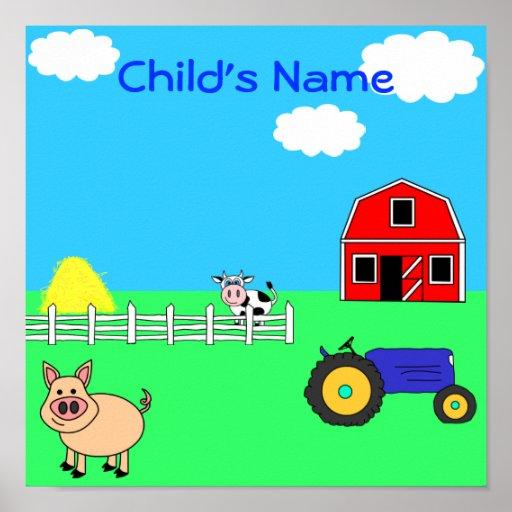 Farm Animals Personalised Child's Name Print