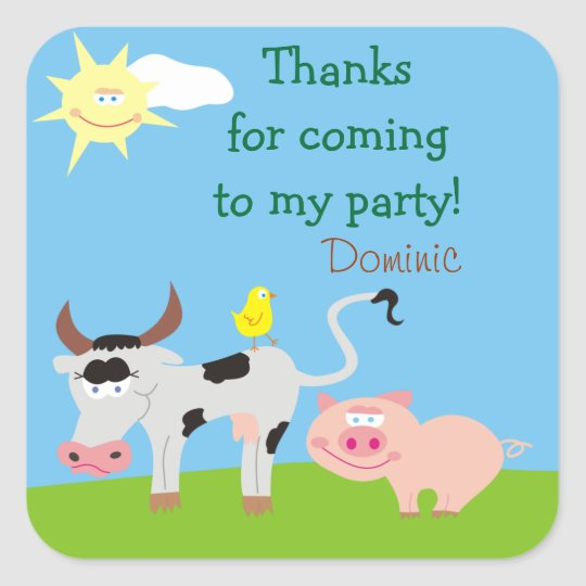 Farm Animals Personalised Thank You Stickers