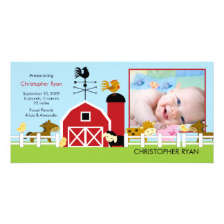 Farm Animals PHOTO Birth Announcement Customized Photo Card