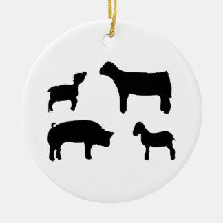 Farm Animals Round Ceramic Decoration