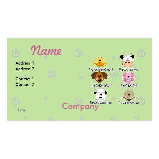 Farm Animals Sounds Pack Of Standard Business Cards