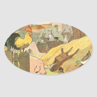 Farm Animals Story Book Illustrated Oval Sticker