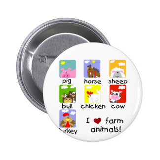 Farm Animals Tshirts and Gifts Pinback Button