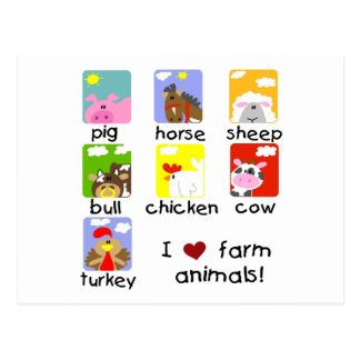 Farm Animals Tshirts and Gifts Postcards