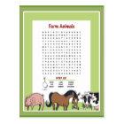 Farm Animals Word Search Postcard