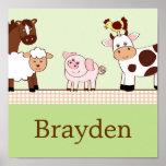 Farm Babies Animals Personalised Name Art Print