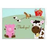 Farm Babies Barnyard Folded Thank you notes Note Card