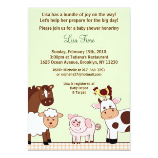 "Farm Babies Farm Animals Baby Shower Invitations 5"" X 7"" Invitation Card"