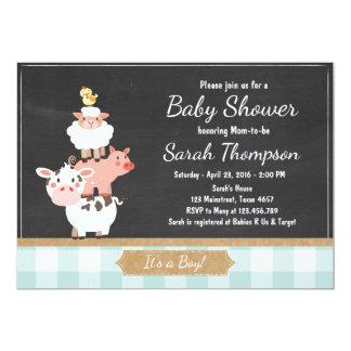 Farm Baby Shower invitation Country Baby Boy Blue