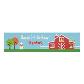 Farm Barnyard Animal Birthday Party Banner Posters