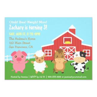 Farm Barnyard Animal Birthday Party Invitations