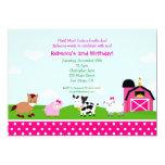 "Farm Barnyard Birthday Invitations for girl 5"" X 7"" Invitation Card"