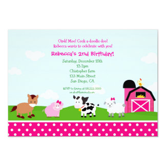 Farm Barnyard Birthday Invitations for girl