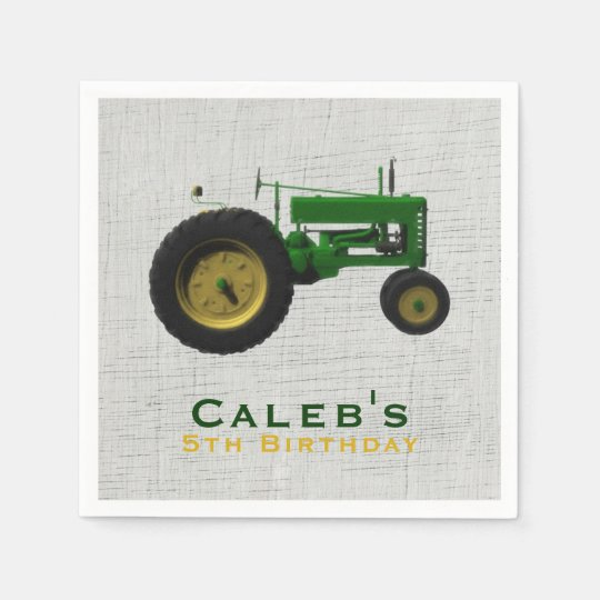 Farm Barnyard Tractor Birthday Party Favour Custom Paper Napkins