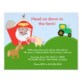 Farm Birthday 11 Cm X 14 Cm Invitation Card