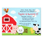 Farm Birthday Invitation - Boy (Blue) - Barnyard