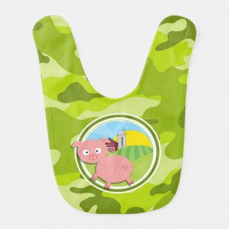 Farm; bright green camo, camouflage baby bibs