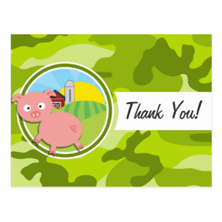 Farm; bright green camo, camouflage post cards