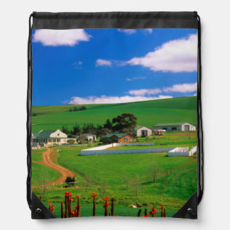 Farm Buildings And Fields, Caledon, Overberg Drawstring Bag