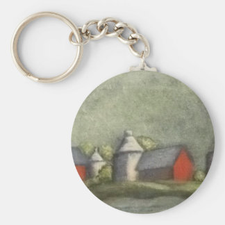 Farm Buildings And Silos Basic Round Button Key Ring