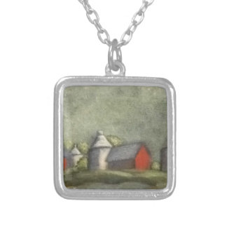 Farm Buildings And Silos Silver Plated Necklace