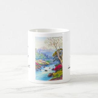 Farm By Flowing Stream K Seki watercolor scenery Basic White Mug