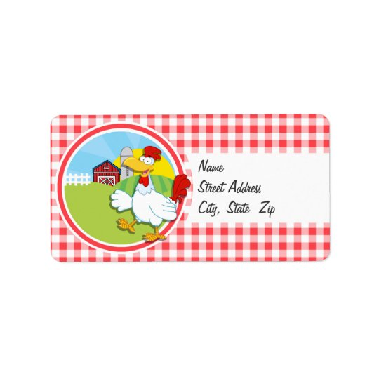 Farm Chicken; Red and White Gingham Address Label