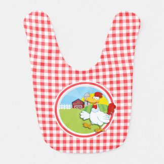 Farm Chicken; Red and White Gingham Baby Bib