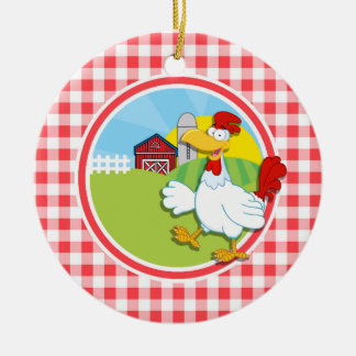 Farm Chicken; Red and White Gingham Double-Sided Ceramic Round Christmas Ornament