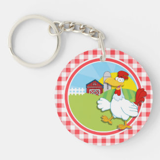 Farm Chicken; Red and White Gingham Acrylic Keychains