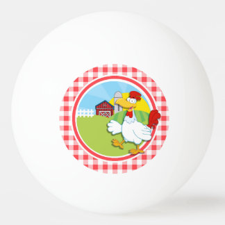 Farm Chicken; Red and White Gingham Ping Pong Ball