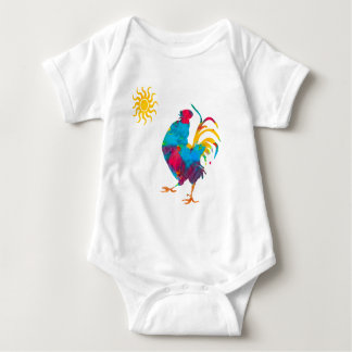 Farm Colorful Pet Rooster Watercolor Baby Bodysuit