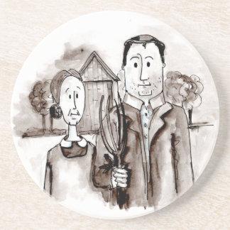 Farm Couple  'American Gothic' Coaster
