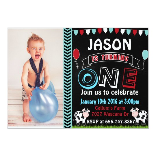 Farm Cow Birthday invitations with photo invite
