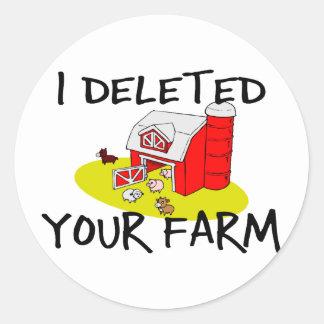 Farm Deleted Round Sticker