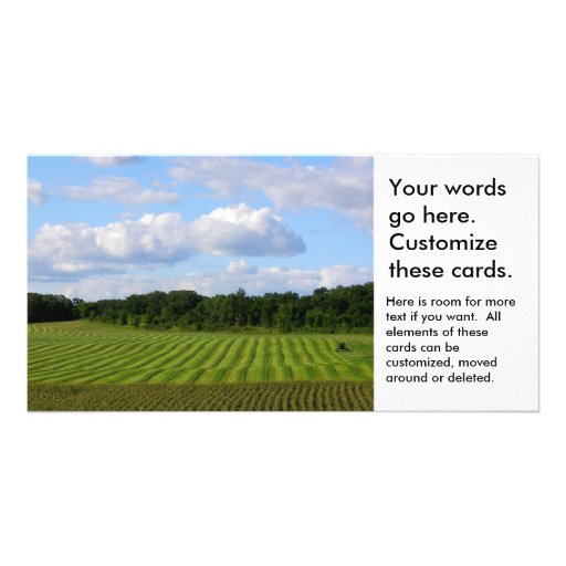 Farm field striped land farmer harvesting photo picture card