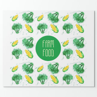 """Farm food"" label with vegetable Wrapping Paper"
